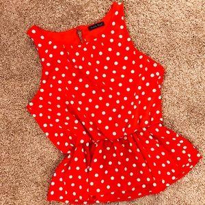 Tops - Red & White Polka Dot Peplum Blouse